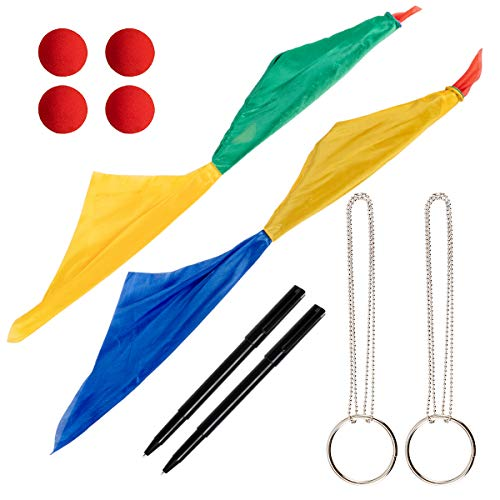 Apipi 10 Pcs Magic Props Set- 4 Red Magic Sponge Balls, 2 Color Changing Silk Hanky Magic Scarves, 2 Magic Metal Ring Chains and 2 Thru Dollar Bill Magic Pens for Magic Penetrating Trick Streets Toys