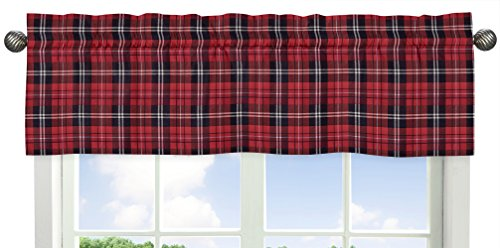 Sweet Jojo Designs Red and Black Woodland Plaid Flannel Window Treatment Valance for Rustic Patch Collection