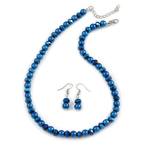 Avalaya 8mm Electric Blue Glass and Pearl Bead Necklace and Drop Earrings Set - 42cm L/ 5cm Ext ()
