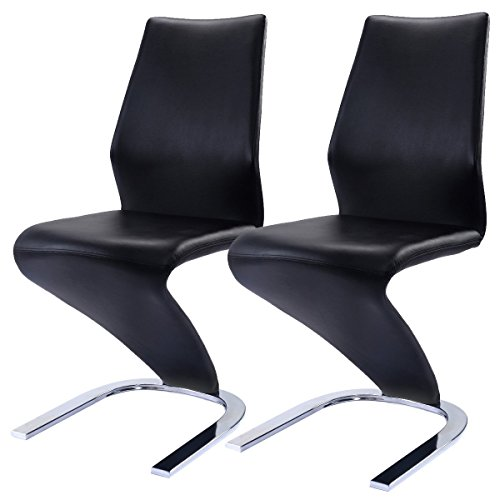 Giantex 2 Pcs Dinging Chairs PU Leather High Back Furniture Home Dinging Room