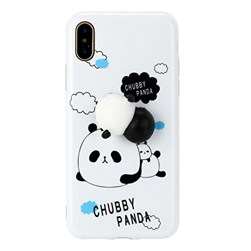 Price comparison product image Mchoice For iPhone X 5.8 inch, New Squishy 3D Squeeze Cute Mochi Toy Silicone Back Soft Case Cover for iPhone X 5.8 inch (E)