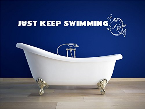 Just Keep Swimming Wall Decal - Disney Home Decor For the Playroom, Child Room, or Bathroom, Disney Wall Decals, Disney Party (Halloween Party Centre)
