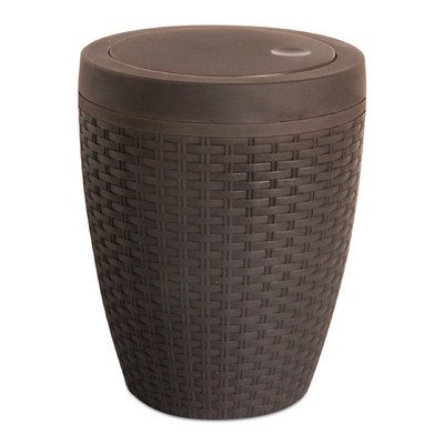 Swing Lid Wastebasket - 1.63-Gal Round Trash Can Color: Brown