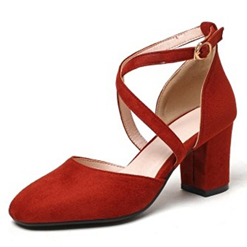 COOLCEPT Women Fashion Criss Cross Sandals Closed Toe Block Heel Shoes Red KwL2Ak