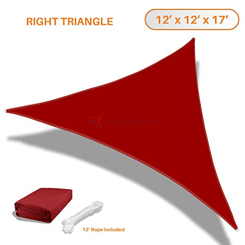 Sunshades Depot 12x12x17 Right Triangle Waterproof Knitted Shade Sail Curved Edge Red 220 GSM UV Block Shade Fabric Pergola Carport Awning Canopy Replacement Awning