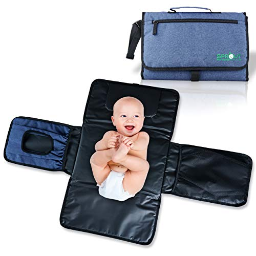 Sprout Baby Products | Portable Changing Pad | Waterproof Machine Washable Diaper and Wipes Pockets for One-Handed Use | Travel Changing Pad Station | Diaper Changing Pad | Baby Wipe Mat | Reusable