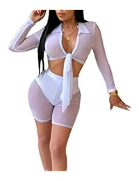 UUYUK Women Long Sleeve Mesh Tie Up 2 Pieces Outfits Club Crop Tops Shorts Set