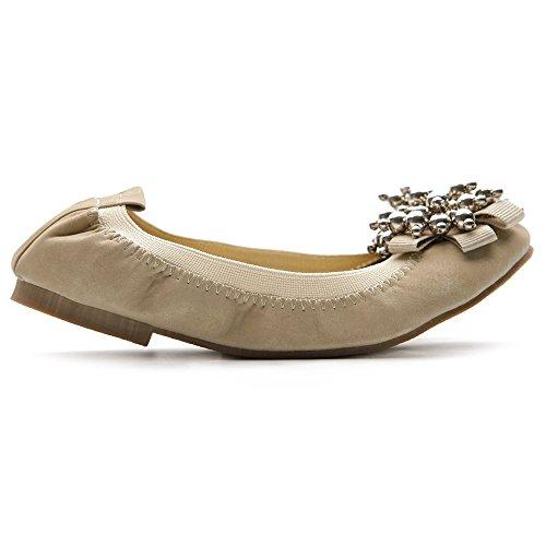 Accent Beige Ollio Ballet Silver Flat Cute Bead Soft Shoe Womens R0fwqx04z