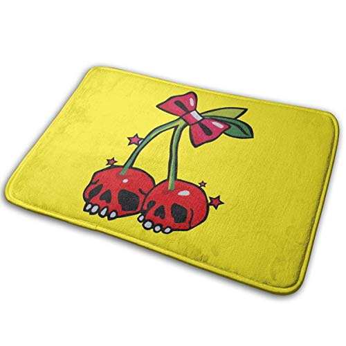 Alpha Doormat Cherry Skull Bath Mat Non Slip Rug Bathroom Bedroom Entrance Carpet 16