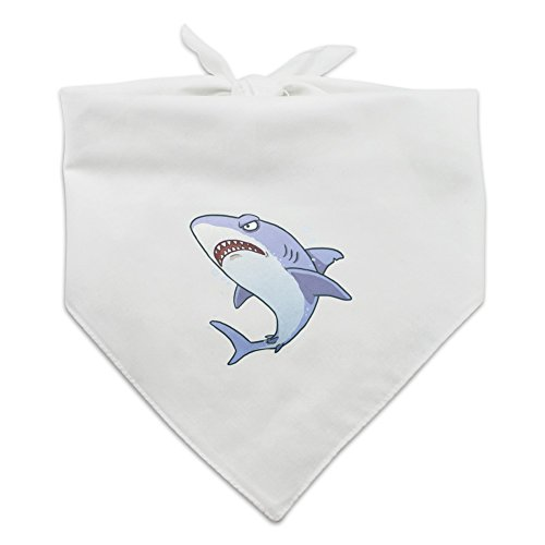 Graphics and More Great White Shark Cartoon in Ocean Dog Pet Bandana - White (Fin Wht)