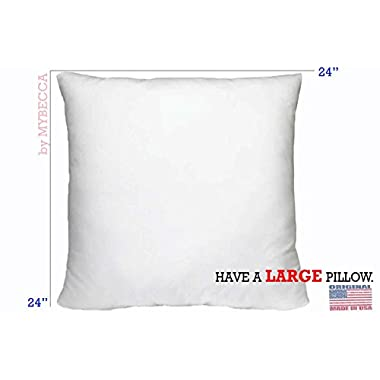 Mybecca 24  x 24  Pillow Insert Square Polyester Form Hypoallergenic, White