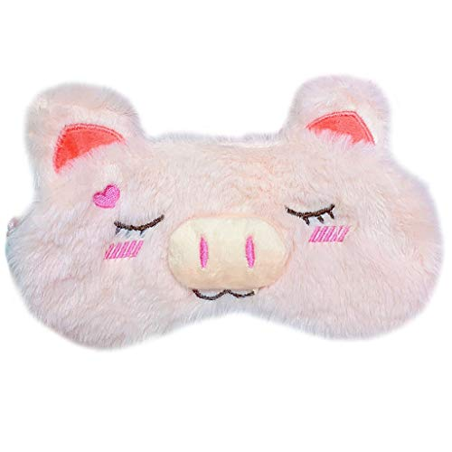 RingBuu Eye Mask - Women Girls Sweet Pink Color Plush Sleeping Eye Mask Cute Cartoon Pig Emoji Embroidered with Ears Eyeshade Stretchy Relax Cover Blindfold Portable ()