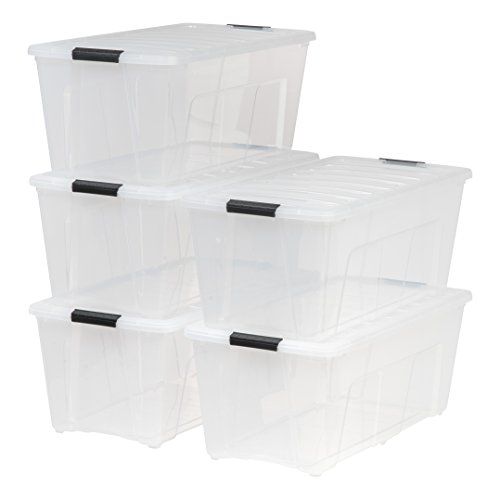 IRIS 83.7 quart Stack & Pull Box, Clear, 5 Pack by IRIS USA, Inc.