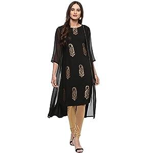 Janasya Women's Poly Crepe Jacket Style A-line Kurta