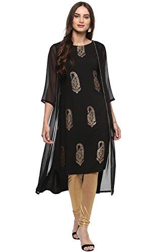 Janasya Indian Tunic Tops Crepe Kurti for Women (JNE2049-KR-351-L) Black