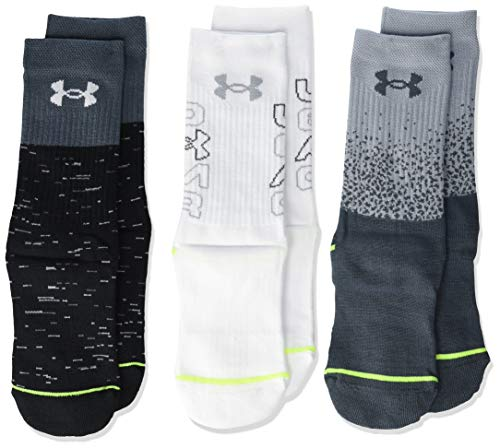 Under Armour Phenom Crew Socks 3 Pairs, Mod Gray Assorted, Youth Large (Best Under Armor Basketball Shoes)