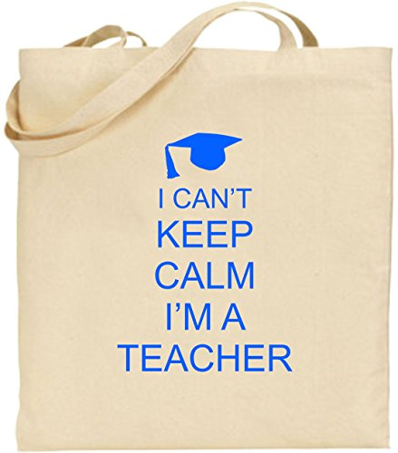 Calm I'm Can't Present Blue Shopping I Tote Keep Cool Xmas Cotton Bag Large a Teacher wtE4cqPnF4