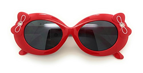 MyUV Baby and Children Bold Retro Oval Mod Thick Frame Cute Sunglasses Clout Goggles (Age;2-10) (Red, - Girl Glasses Thick