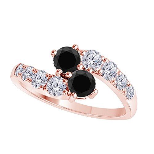 DS Jewels Forever US Two Stone Ring 14k Rose Gold Plated Alloy 1.00 CT Round Cut Multi-Color CZ Wedding Engagement Rings Sizes 4-11