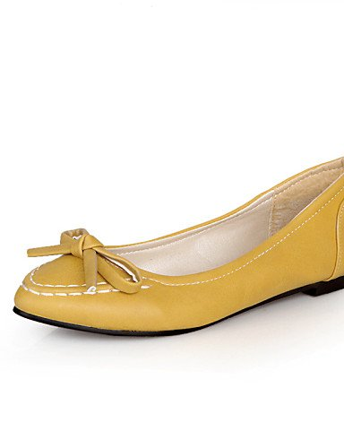 PDX/de zapatos de de de mujer piel sintética talón plano punta Toe Flats Casual negro/amarillo/rosa/blanco c21d1a