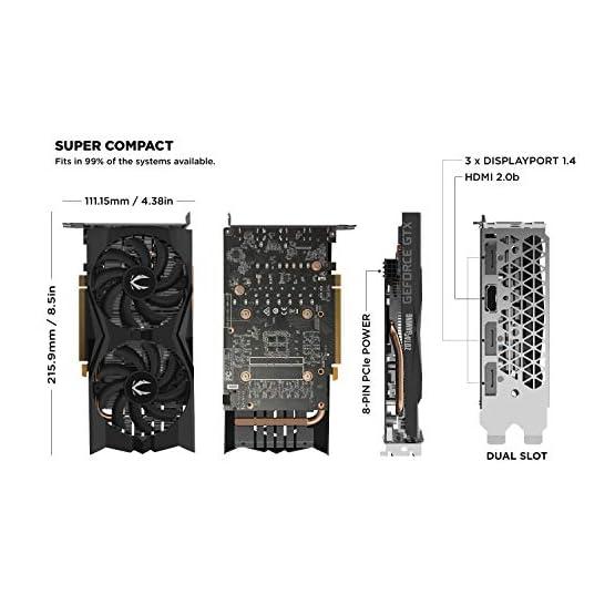ZOTAC Gaming GeForce GTX 1660 6GB GDDR5 192-bit Gaming Graphics Card, Super Compact, ZT-T16600K-10M 41rNwefk7mL. SS555