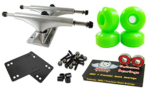 Owlsome 5.25 Polished Aluminum Skateboard Trucks w/52mm Wheels Combo Set (Green) (Skateboard Parts)