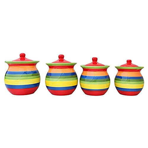 Bon Tuscany Colorful Hand Painted Rainbow Canisters, Set Of 4, 81701 By ACK