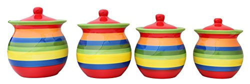 (Tuscany Colorful Hand Painted Rainbow Canisters, Set of 4, 81701 by ACK)