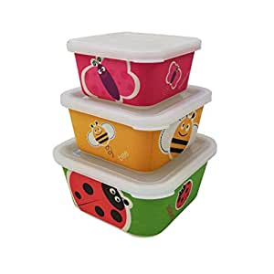 Conjunto 3 Tupper de bambú. Apto para lavavajillas. Material ecológico sin BPA, Ideal para bebé e Infantil.