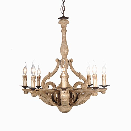 KunMai Retro Rustic French Country Carved Wood 8-Light Distressed Candle-Style Chandelier Pendant (French Art Deco Chandelier)