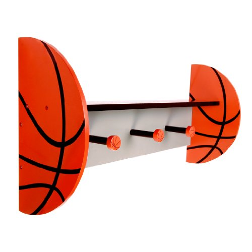 Trend Lab Basketball Wall Shelf with Pegs, Orange