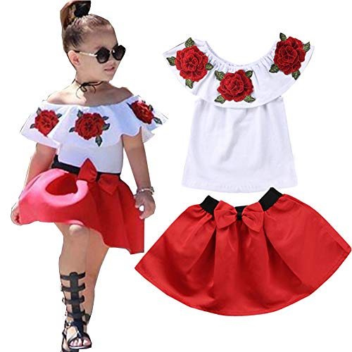 Baby Girls Sleeveless Off Shoulder Embroidery Rose Tops+Skirts Set Summer Outfits (White, 4T) ()