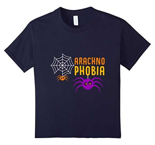 unisex-child Arachno Phobia T Shirt Funny Fall Halloween Spider 12 Navy