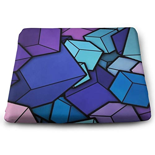 SEVENHOUSE Novelty Perfect Indoor Outdoor Square Seat Cushion, Blue Cyan Purple Cubes Chair Pads Memory Foam Filled for Patio,Office,Kitchen,Desk,Travel,Kids,Yoga