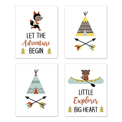 Sweet Jojo Designs Aqua and Yellow Woodland Wall Art Prints Room Decor for Baby, Nursery, and Kids for Outdoor Adventure Collection - Set of 4 - Little Explorer