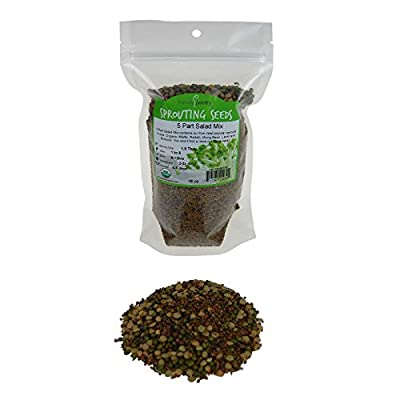 5 Part Salad Sprout Seed Mix - Handy Pantry Brand: Certified Organic Sprouting Seeds: Radish, Broccoli, Alfalfa, Lentil & Mung: Cooking, Food Storage or Delicious Salad Sprouts