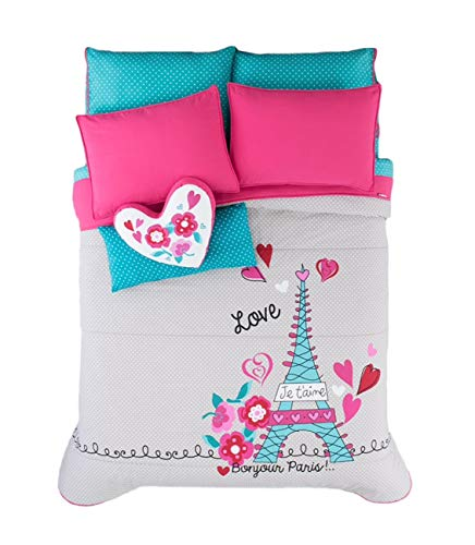 Paris Chic EIFFEL TOWER French,Teen Girls Comforter Set Twin (Eiffel Tower Comforters)