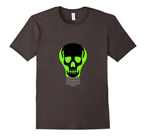 Lightbulb Costumes (Mens Halloween Costume Skull Light Bulb Shirt Medium Asphalt)