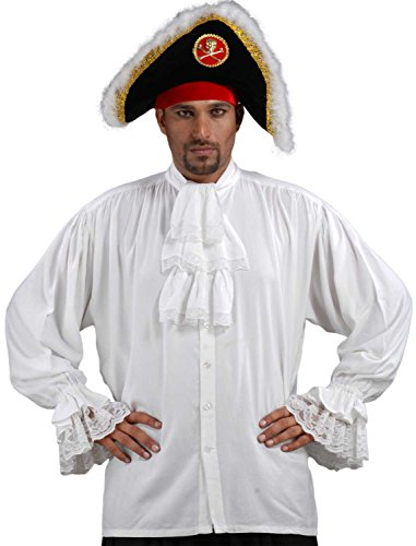 Medieval Poet's Pirate Colonial Shirt Costume [White] (Small/Medium) (Colonial Pirate Costume)