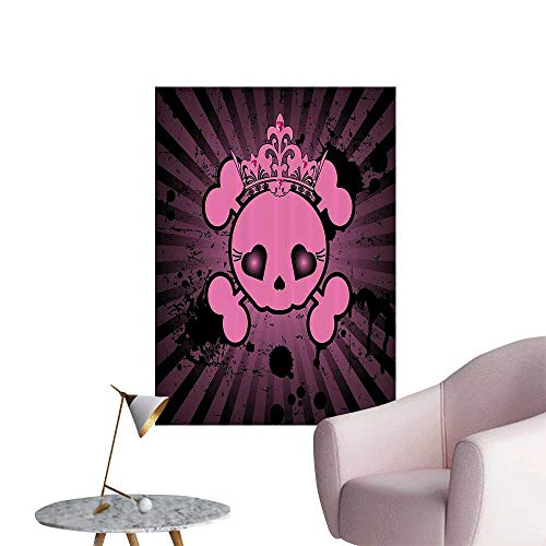 Wall Art Prints Cute Skull with Crown Dark Grunge Style Teen Spooky Halloween for Living Room Ready to Stick on Wall,32