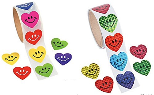 DG Shopping Spree 200 Heart Shape Stickers (100 Prism Smile Face and 100 Solid Color Smile Face Stickers) ()
