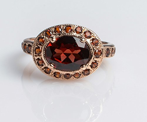 Designer Garnet Jewelry Set (14K Rose Gold Royal Oval Ring set with Large and small Garnet, Handmade Designer Brown Gemstone Jewelry, Sizes US 4-11)