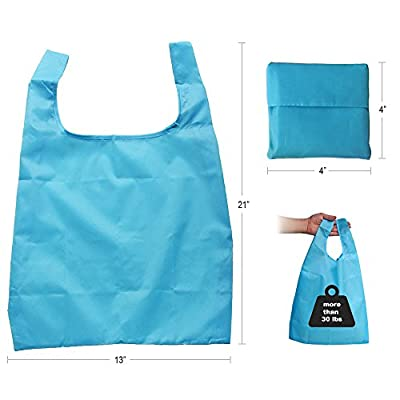 Reusable Foldable Shopping Travel Tote Bags - Set of 5 - Colorful Grocery Eco Bags - by Smiley Peaches