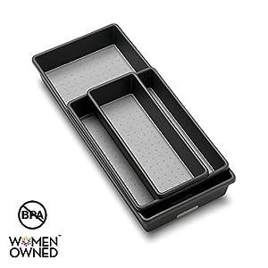 madesmart Classic 3-Tray Bin Pack – Granite | CLASSIC COLLECTION | Multi-Purpose Storage | Soft-grip Lining and Non-slip…