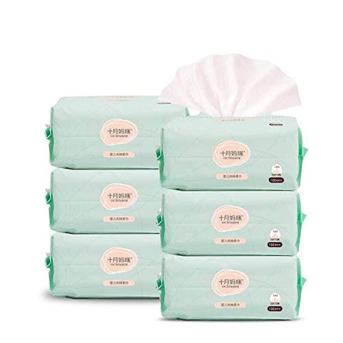 Disposable Paper Dry Wipes - Dry Baby Wipes Octmami Soft Dry Cotton Wipes Baby Tissue Cotton for Sensitive Skin Portable 6 Packs 600 Count