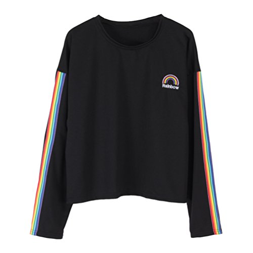 Focal20 Women T-shirt Long Sleeve Rainbow Stripes Loose T Shirt Rainbow Embroidery Oversized Tee Top Streetwear (Rainbow Stripe Shirt)