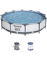 Bestway Steel Pro MAX opbouwzwembadset met filterpomp Ø 366 x 76 cm, grijs, rond