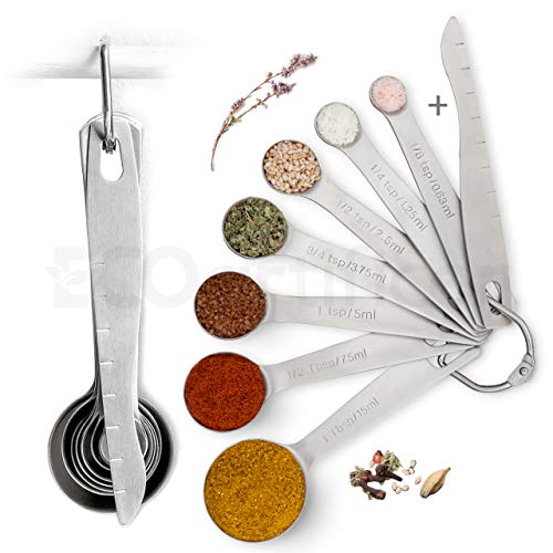 Measuring Spoons, Tablespoon and Teaspoon Measuring Set, Heavy Metal Duty Stainless Steel Set, Spice Meas, with Leveler for Dry and Liquid Ingredients, Cooking and Baking, Set of 8, Cucharas Medidoras by Ecoartificer