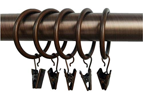 Xin store 40-pack Copper Metal Curtain Rings with Clips (1.5)