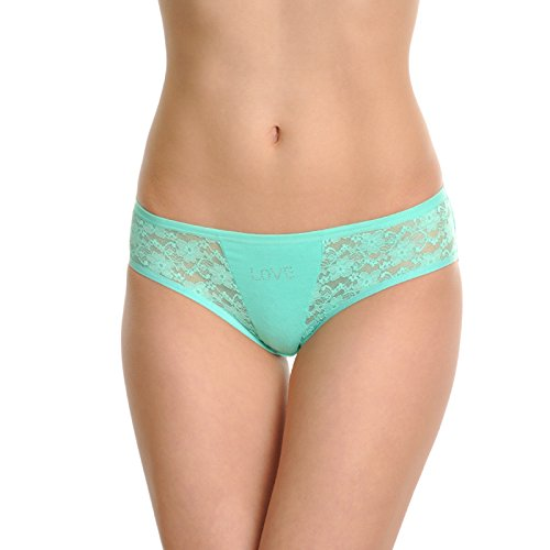 Angelina Cotton Bikini Panties with Rhinestone Love Design (6-Pack), (Lace Back Bikini)